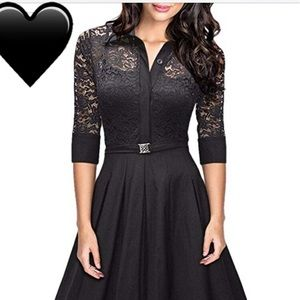 Dresses & Skirts - Black lace dress with built-in belt (size Small)